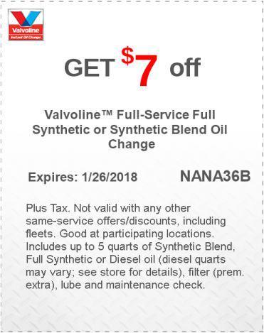 valvoline oil change coupon printable